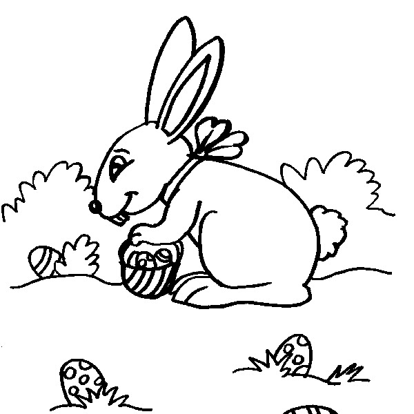 Disegno Coniglietto Da Coloraredisegno Coniglio Con Uova Di Pasqua