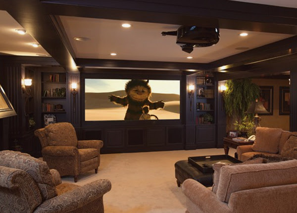 15 Cool and Minimalist Home Theater Design with Sofa ...