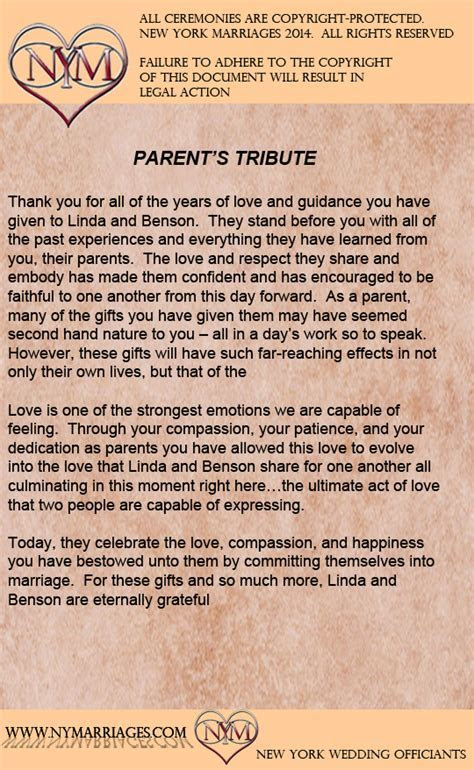 Sample Parent's Tribute Ceremony   Sample Wedding