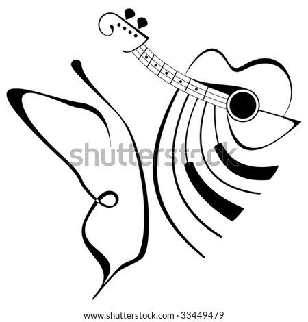piano tattoo. guitar and piano