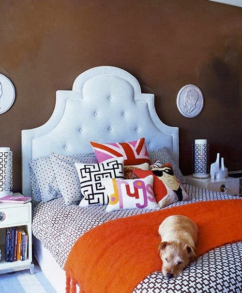interior-glam bedroom with cute doggie