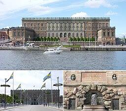 Stockholms slott: överst östra fasaden därunder norra fasaden och Oscar II:s minnestavla