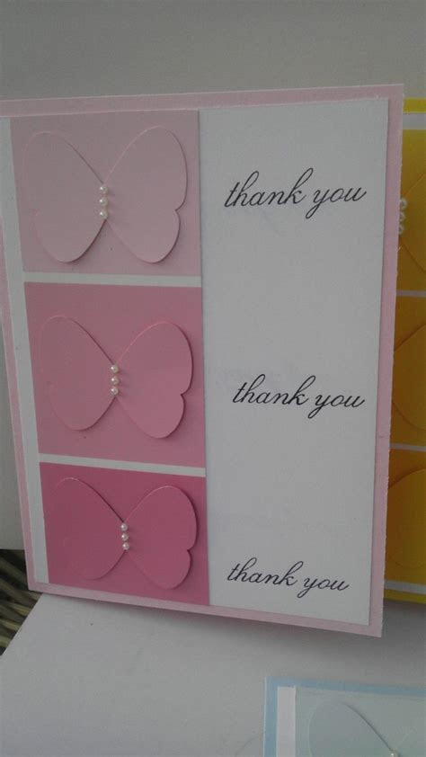 Handmade Stamped Stampin Up Thank You Notecard Set of 4