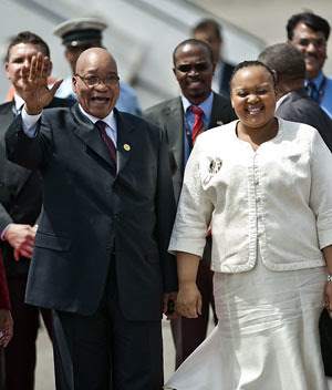 President Jacob Zuma and MaNtuli Zuma in New Delhi on March 28, 2012. The leaders of the Brics countries begin their fourth summit with the emerging market bloc struggling to convert its growing economic strength into collective clout. by Pan-African News Wire File Photos