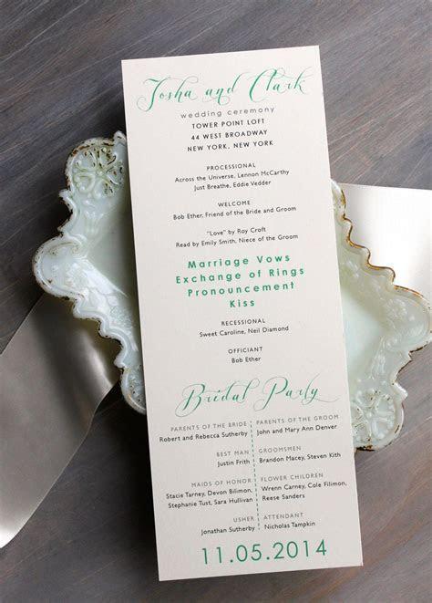 Mint Script   Modern Wedding Ceremony Programs, Mint