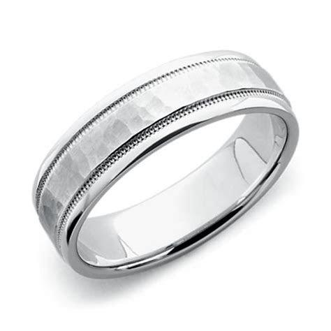 Hammered Milgrain Comfort Fit Wedding Ring in 14k White