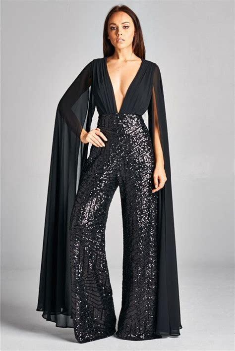 emma black chiffon sleeve sequin wide leg jumpsuit