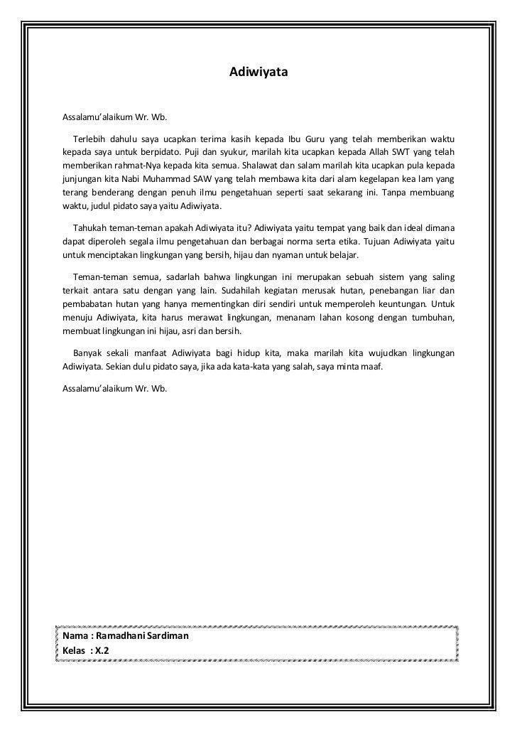 B. Indonesia - Pidato Adiwiyata