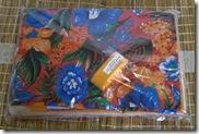 Kit de chita laranja com flores azuis