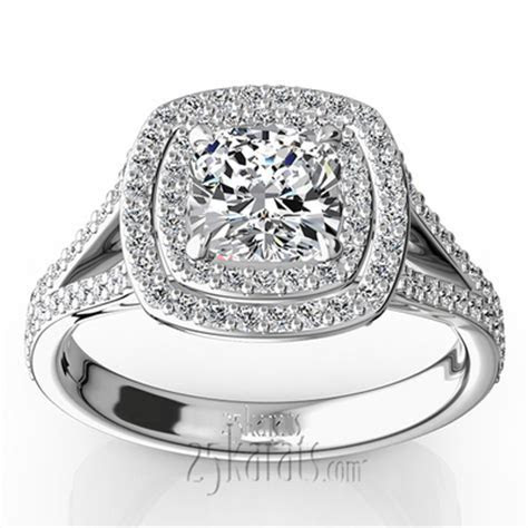Double Halo Micro Pave Set Diamond Engagement Ring (5/8 ct