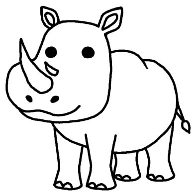 サイ動物無料白黒イラスト素材