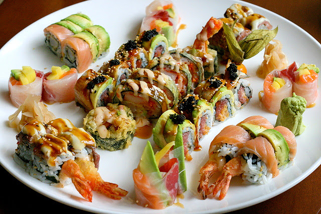 The Happiness Platter - five sushi rolls