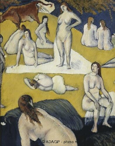 Baigneuses à la vache rouge, Emile Bernard, 1887