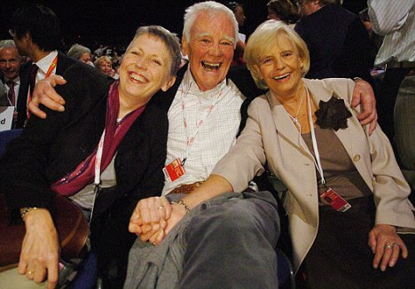Party animal: Tony has been a lifelong supporter of the Labour Party. He is pictured here at the party's 2006 conference with his current wife Steph (left) and former wife Gale Howard - the mother of Cherie
