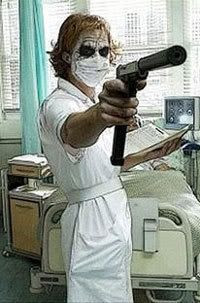 The Joker poses as a nurse in THE DARK KNIGHT.