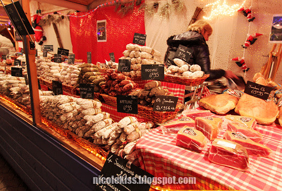 meat and jamon in night market lyon