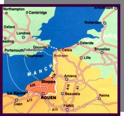 Carte Angleterre Douvres