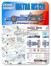 Kit 1/20 Model Factory Hiro - Matra MS120 ELF - Nº 25 - J.P. Beltoise - Gran Premio de Belgica 1970 - kit Multimedia
