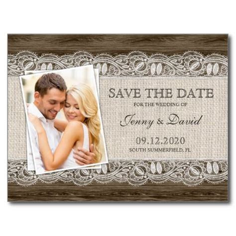 Rustic Save The Date Postcard, Photo Save The Date