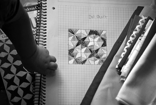 doll quilt bw - the plan