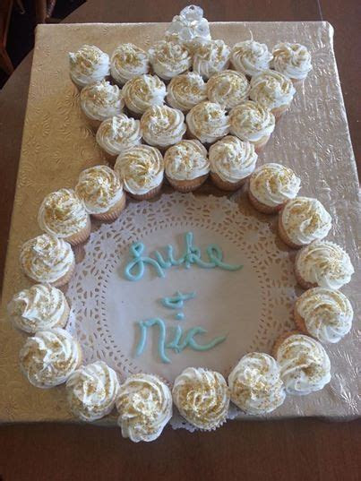cute! cupcakes in the shape of an engagement ring
