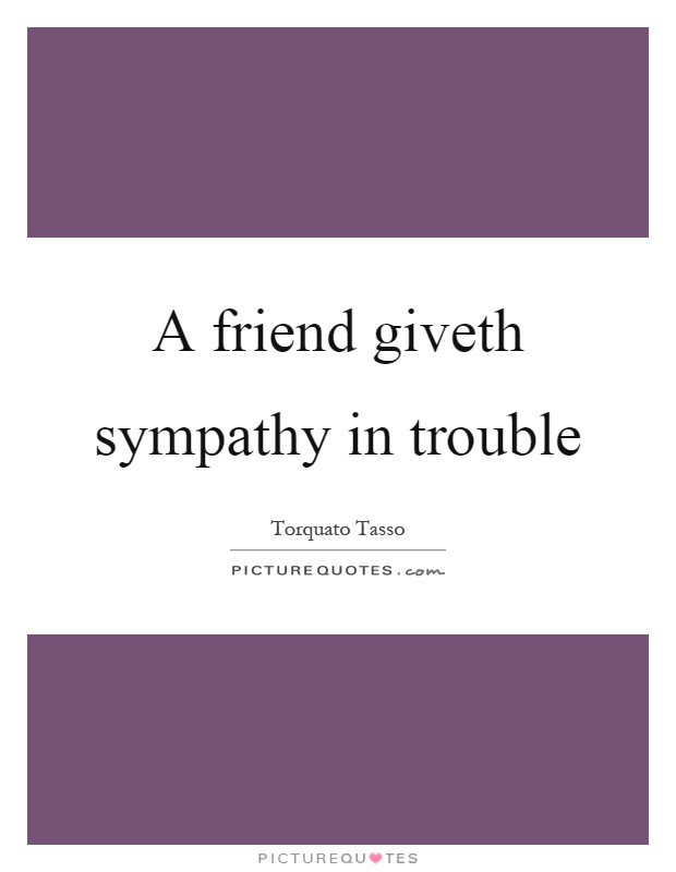 A Friend Giveth Sympathy In Trouble Picture Quotes