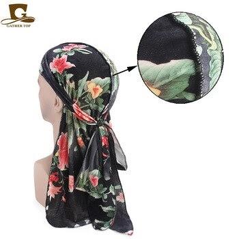 UK Men Woman Long Tail Shiny Bandana Hat Doo Durag Rag Headwear Chemo Pirate Cap