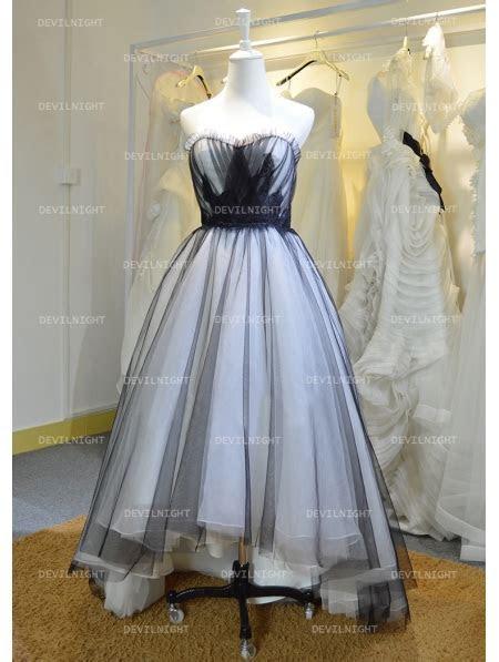 Fashion Black and White High Low Gothic Wedding Dress