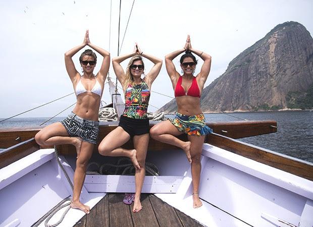 Bailarinas se preparam para estrear no SUP Yoga (Foto: Raphael Dias/ TV Globo)