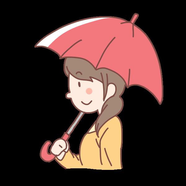 赤い傘をさす女性のイラスト かわいいフリー素材が無料のイラストレイン