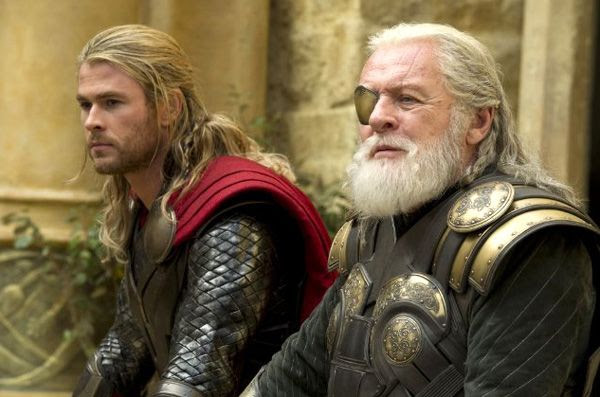Thor and his father Odin (Anthony Hopkins) endure a family tragedy in THOR: THE DARK WORLD.