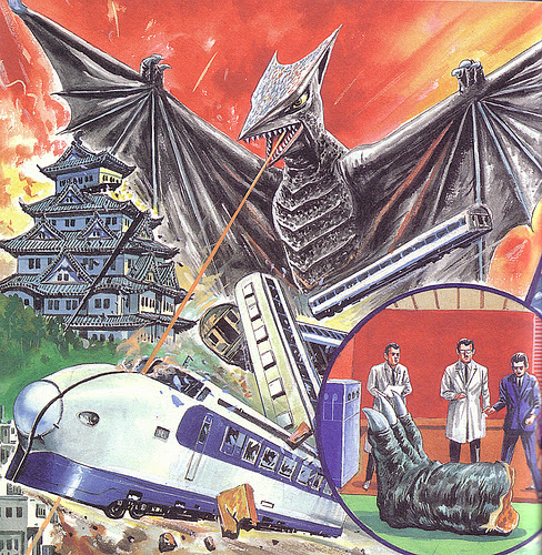 Giant bats attacking bullet train