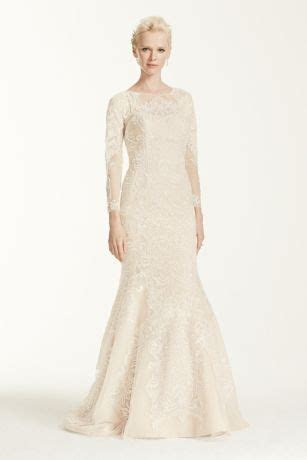 Petite Open Back Long Sleeved Wedding Dress   David's Bridal