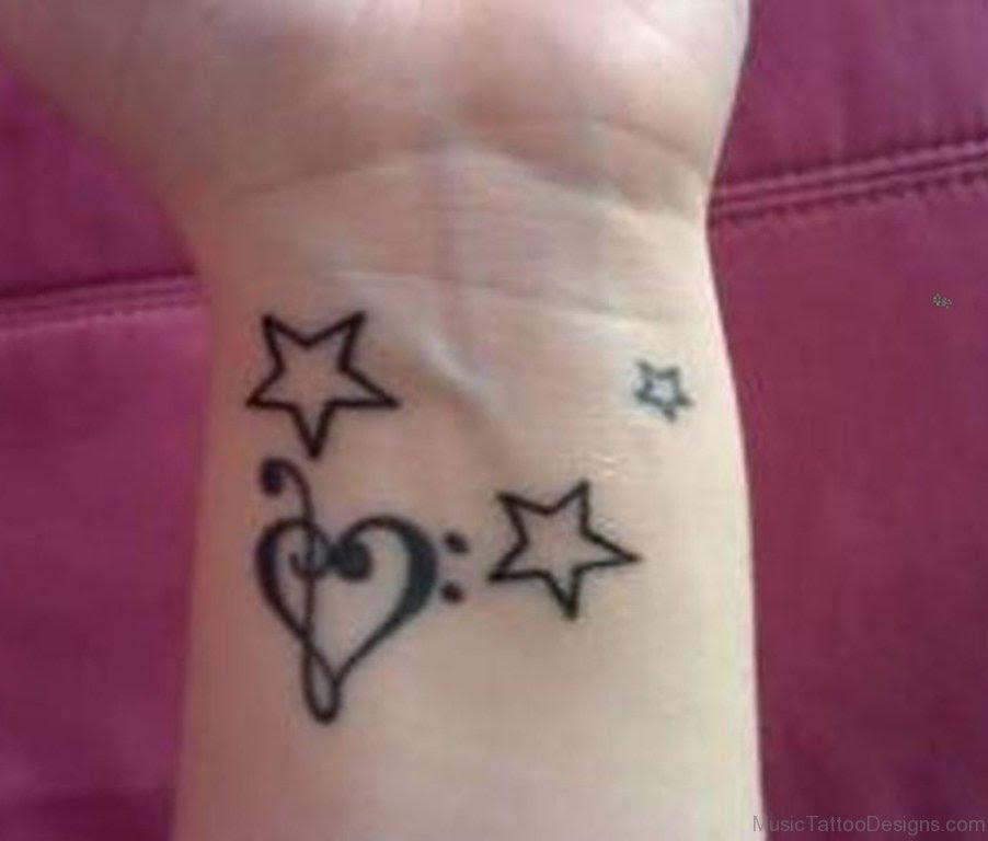 42 Good Music Heart Tattoos On Wrist