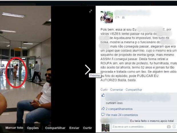 Em rede social mulher fez desabafo e publicou própria foto seminua (Foto: Reprodução Facebook)