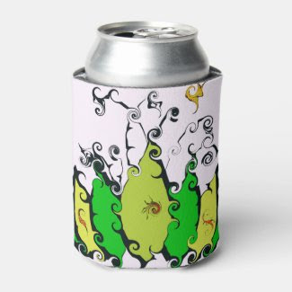 Cool Can Cooler with Swirling Leaf Design