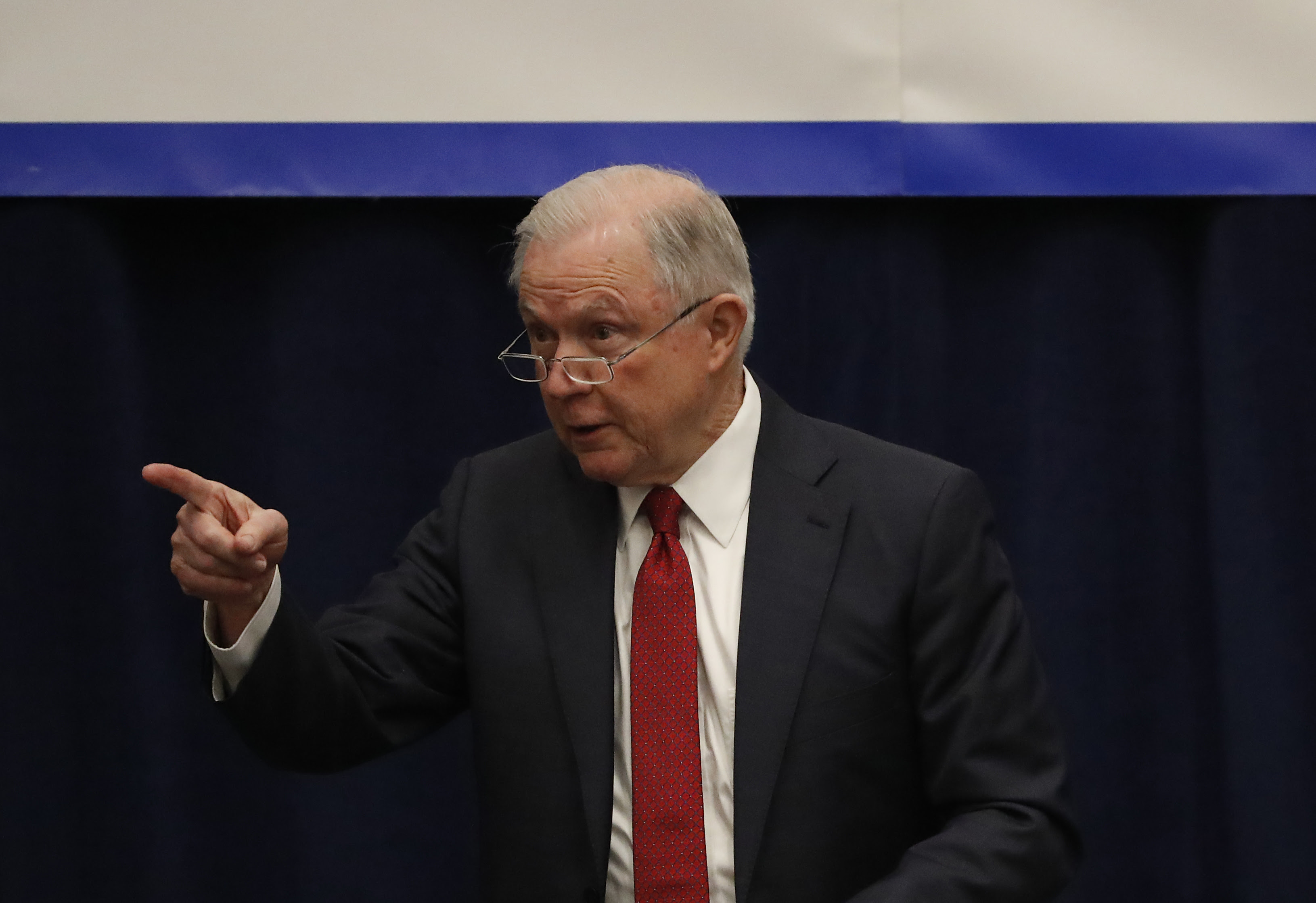 SACRAMENTO, CA - MARCH 07: Attorney General Jeff Sessions gestures as he speaks at the California Peace Officers' Association 26th Annual Law Enforcement Legislative Day on March 7, 2018 in Sacramento, California. The attorney general is expected to reveal a major sanctuary jurisdiction announcement as the Justice Department sued California over its sanctuary policies. (Photo by Stephen Lam/Getty Images)
