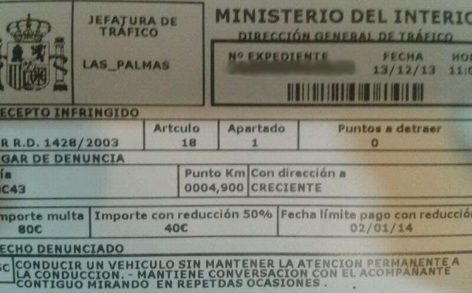 A photo of the traffic summons posted by Cadena Ser radio on its website