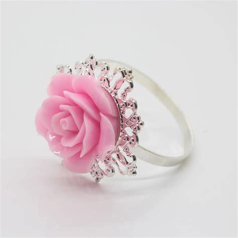Wholesale Pink Rose Decorative Silver Napkin Ring