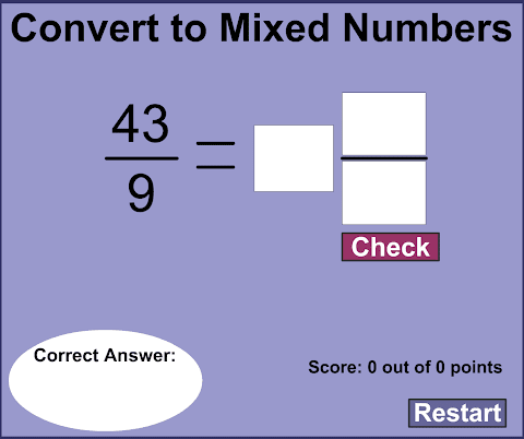 Math Playground Improper Fractions To Mixed Numbers