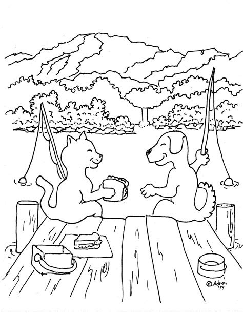coloring pages  kids   adron dog  cat friends