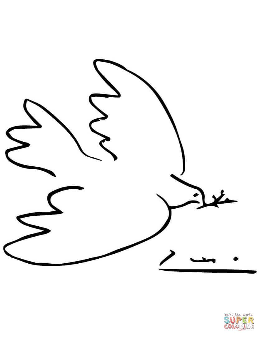 Dibujo De Paloma De La Paz Por Picasso Para Colorear Dibujos Para