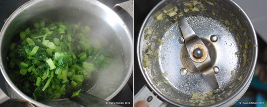1-boil, grind garlic