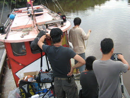 Shooting a scene on the boat