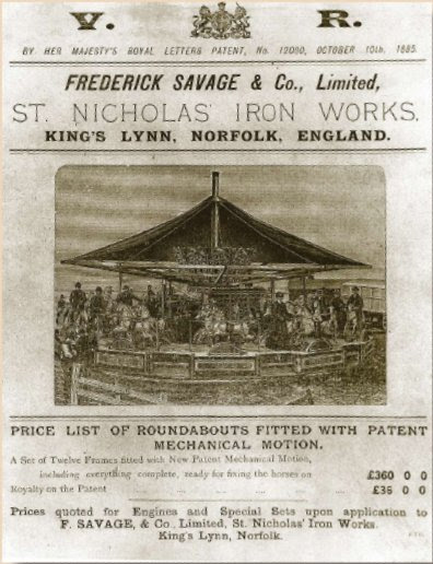 Advert of Savage's Roundabouts - Copyright King's Lynn Museums