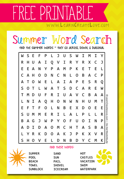 Printable Word Search: Summer