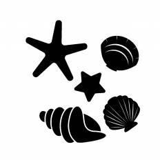 貝とヒトデシルエット イラストの無料ダウンロードサイトシルエットac