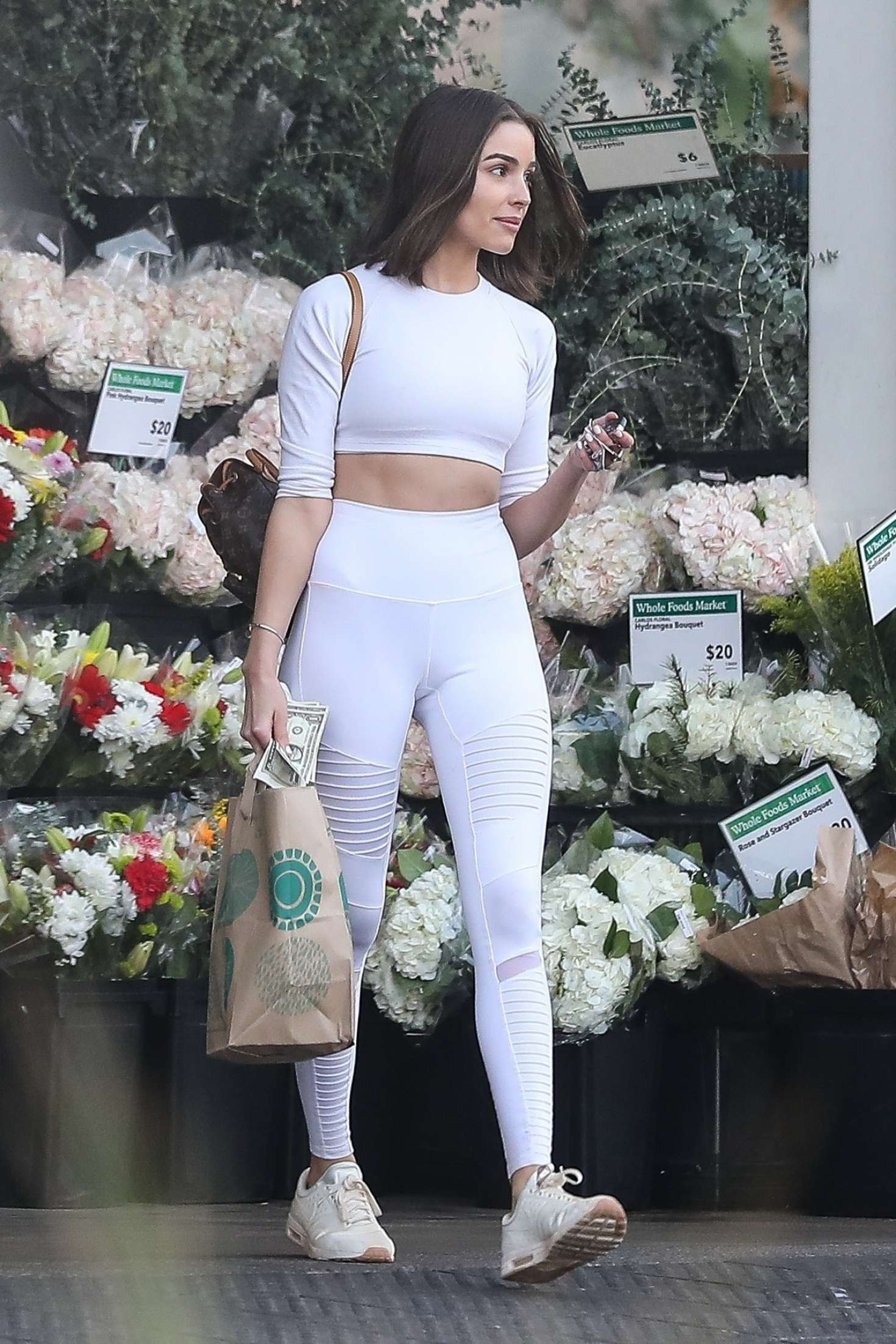Olivia Culpo in White – Shopping at Whole Foods in LA