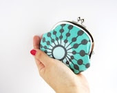 silver frame coin purse- turquoise flower