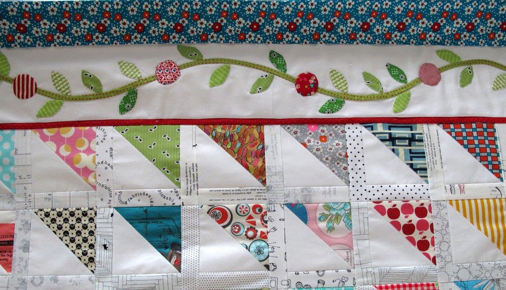 Finished one side of this border on the HST quilt
